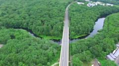 Arial Shot of river with bridge Stock Footage