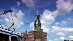 ULTRA HD 4k  Traffic street  and tram near Munttoren Tower in Amsterdam - stock footage