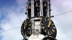 ULTRA HD 4k  Clock of Munttoren Tower in Amsterdam, zoom out Stock Footage