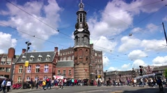 ULTRA HD 4k  Traffic street near Munttoren Tower in Amsterdam,motion speed Stock Footage