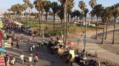 Venice Beach summer weekend in time lapse Stock Footage