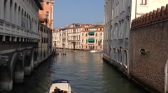 Water taxi in the canals of Venice Italy Stock Footage