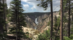 Forest view Yellowstone River Grand Canyon Lower Falls 4K Stock Footage