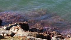 Sea Water Splashing on Rocks Stock Footage