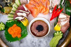 Stock Photo of fresh sushi choice combination assortment selection