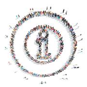 Stock Illustration of people in the shape of a letter i.