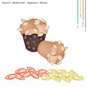 Stock Illustration of Almond Muffins with Vitamin E, B2 and Minerals