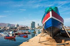 Harbour at Antofagasta in the Atacama Region of Chile Stock Photos