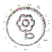 people in the shape of a flower. - stock illustration