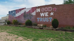 In God We Trust Mural In Small Texas Town- Quitaque, TX - stock footage