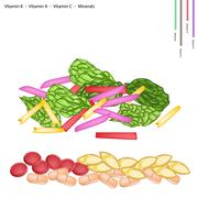 Stock Illustration of Fresh Swiss Chards with Vitamin K, A and C