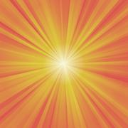 Illustration of colorful rays (yellow, orange, red) with white burst - stock illustration