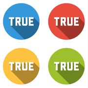 Collection of 4 isolated flat buttons for TRUE (choice or vote button) - stock illustration