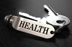 Keys to Health. Concept on Golden Keychain Stock Illustration