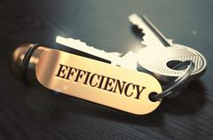 Stock Illustration of Keys with Word Efficiency on Golden Label