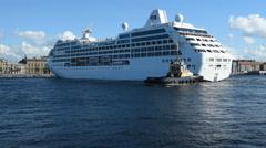 Cruise liner Ocean Princess departs from St. Petersburg, Russia Stock Footage