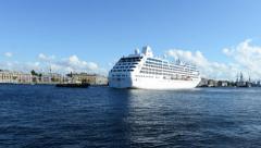 Cruise liner Ocean Princess departs from St. Petersburg, Russia - stock footage