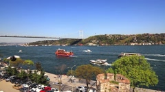 Bosporus view in Springtime. Rumelihisari, Istanbul, Turkey Stock Footage