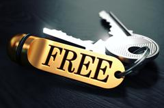 Keys with Word Free on Golden Label - stock illustration