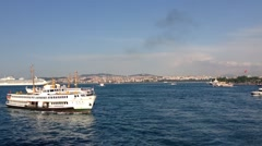 Ferries at The Golden Horn ( Haliç a major urban waterway) in Istanbul Turkey Stock Footage