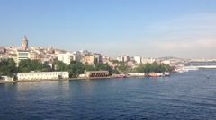 The Golden Horn and Galata Tower from Atatürk Bridge in Istanbul Turkey Stock Footage