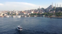 Ferry at the The Golden Horn from Atatürk Bridge in Istanbul Turkey Stock Footage