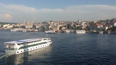 Ferry at the The Golden Horn from Atatürk Bridge in Istanbul Stock Footage