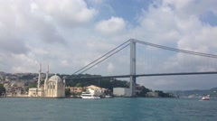 Ortaköy Mosque at the Bosphorus from a ferry Stock Footage
