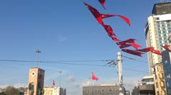 Monument of the Republic with Turkey flags at taksim square in Istanbul Turkey Stock Footage