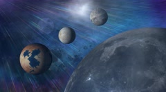 Space background rotating fantasy planets 2 Stock Footage