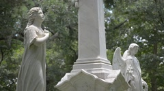 Cemetery statues Stock Footage