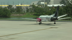 Silver Airways turboprop - stock footage