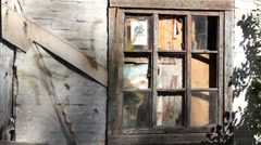 Old house with broken window Stock Footage