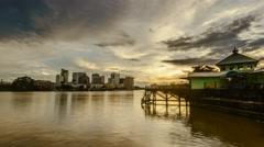 Timelapse beautiful sunset in Kuching, Sarawak, Malaysia. Stock Footage