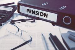 Stock Illustration of Pension on Office Folder. Toned Image