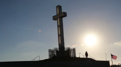 Mount Soledad Silhouette Cross San Diego, California - stock footage