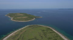 Aerial - Narrow channel between two islands to Susak Stock Footage