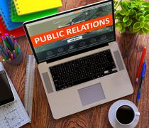 Stock Illustration of Public Relations. Online Working Concept