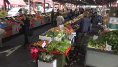 Wide view of a veggie and fruit market - stock footage