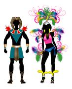 Carnival Silhouette Colorful Couple - stock illustration
