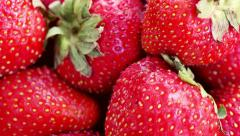 ripe strawberries close up in the movement  - stock footage