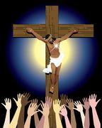 Jesus Cross Crowd Piirros