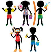 Kids Swimsuit Silhouettes Stock Illustration