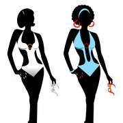 Swimsuit Monokini Silhouette Stock Illustration