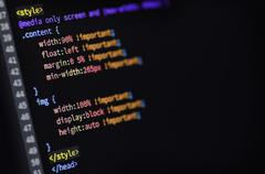 HTML, CSS and media query code - stock photo