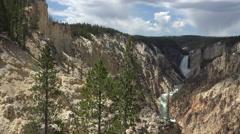 Pan across beautiful Yellowstone River Grand Canyon Lower Falls 4K Stock Footage