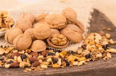 Walnuts and other nuts Stock Photos