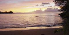 Tracking idealic North Shore Beach Oahu, Hawaii, Haleiwa Stock Footage