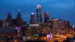 Philadelphia Center City Skyline at Night Timelapse 4K HD Stock Footage