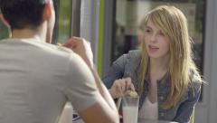 Cute Couple Enjoy A Date Together,They Eat Cookies And Milk, Stock Footage